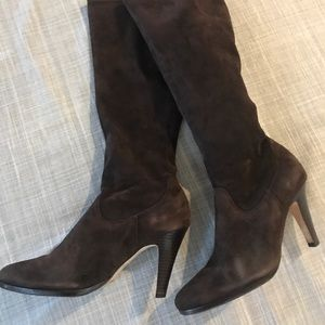 Cole Haan brown suede pull on knee hi boot size 10